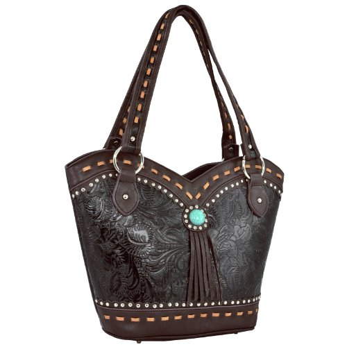 MG Collection SARAH Studded Country Western Embossed Bucket Satchel Tote Handbag