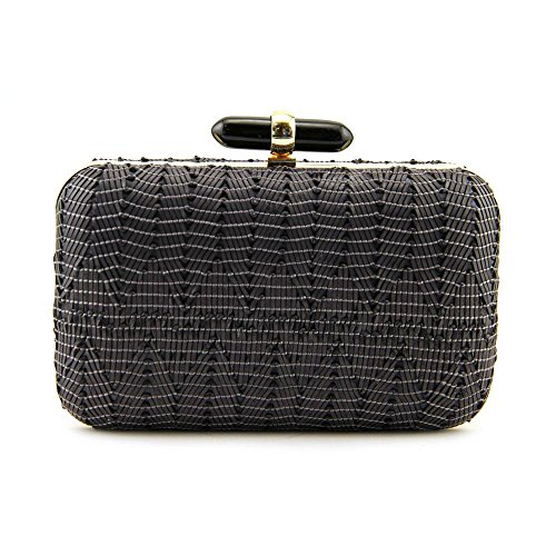 La Regale Woven Faux Leather Large Hard with Lucite Closure Evening Bag