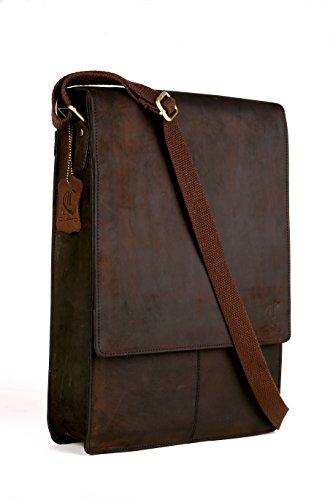 Cuero Undri Vintage Style Genuine Buffalo Leather Unisex Satchel Flapover Shoulder Bag