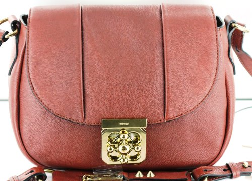 Chloe Handbags Elsie Medium Neo Folk Hobo Crossbody Bag In Hot Chocolate 3S0207-637