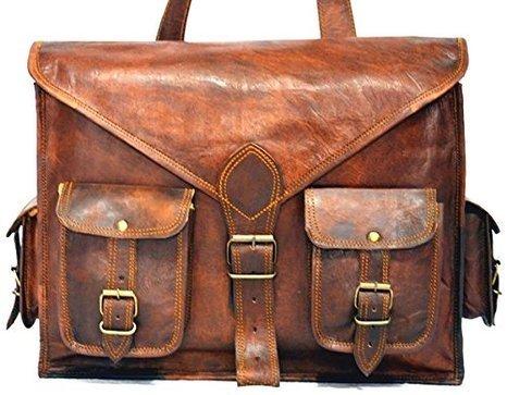 Handmadecraft Leather Satchel Shoulder Business Office Smart Casual College Uni Bag Natural Brown Vintage Unisex U4 (#2)
