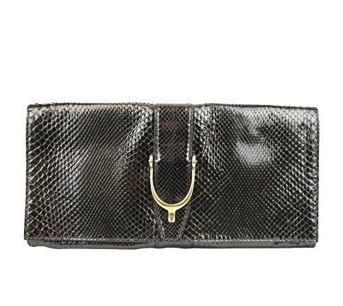 Gucci Ladies Dark Green Python Clutch Bag 304719 3222