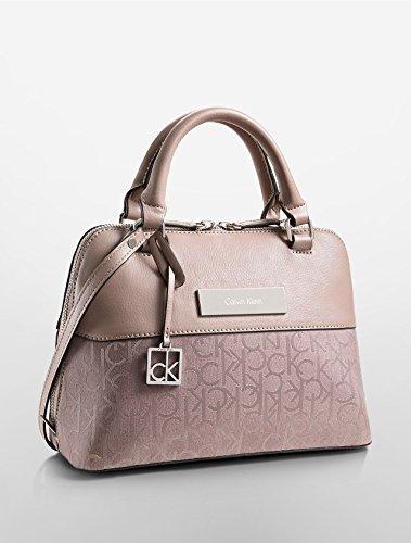 Calvin Klein Logo Jacquard Studio Dome Satchel Purse Handbag Pink