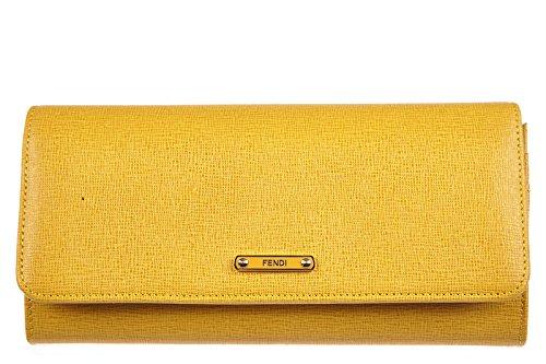 Fendi women's wallet leather coin case holder purse card bifold elite yellow