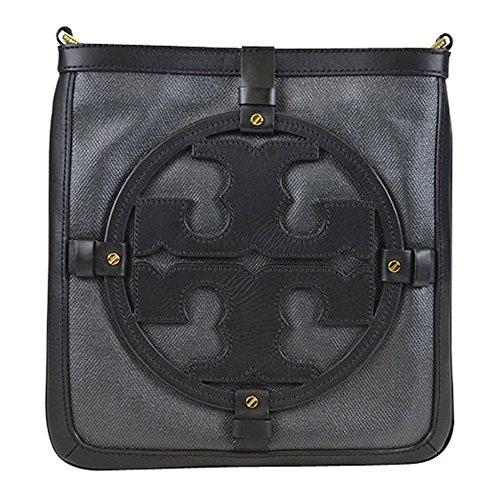 Tory Burch Holly Coasted Canvas Crossbody Bookbag Black