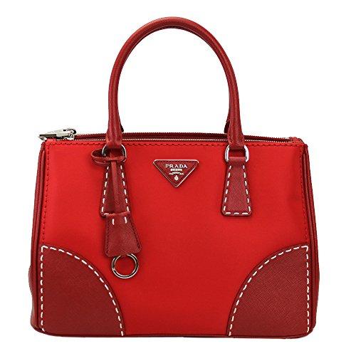 Prada Women's Red Nylon/ Leather Tote Bag W/strap B1801k