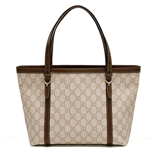 Gucci Nice GG Supreme Canvas and Leather Brown Tote Bag 336776