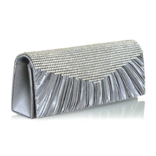 Chic Grey Satin Evening Clutch Purse Detachable Chain Clear Rhinestone Embellishment