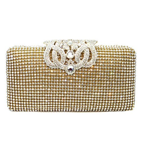 Crown Crystal Pave Evening Bag Hard Case Clutch Handbag with Detachable Chains