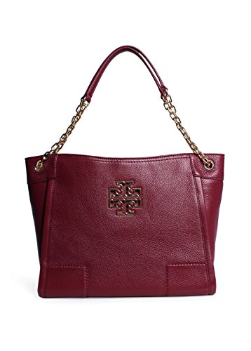 Tory Burch Britten Small Slouchy Tote in Red Agate