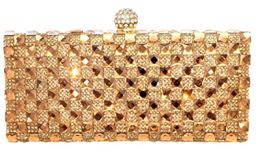 Crystal Pave Evening Bag Hard Case Clutch Handbag Purse for Women with Detachable Chain