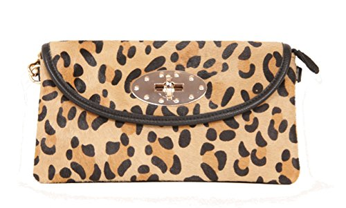 Sondra Roberts Faux Hair Calf Leather Enveloap Clutch Evening Bag with Removable Crossbody Chain