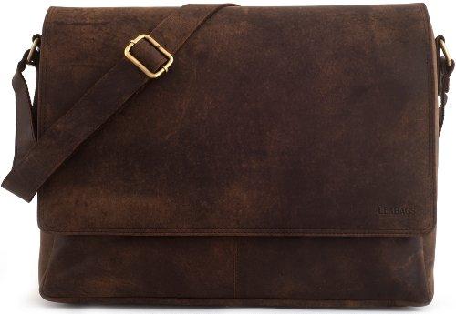 LEABAGS OXFORD Vintage Style Genuine Buffalo Leather Unisex Satchel Flapover Shoulder Bag – Nutmeg