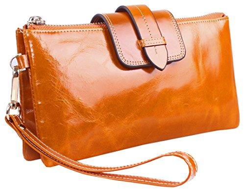Heshe® Luxury Waxy Genuine Leather Organizer Link-chain Long Clutch Purse Card Case Holder Wristlet Shoulder Cross Body Bag Zippered Wallet Women's Handbag