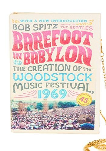 Sidecca Vintage Barefoot In Babylon Woodstock Fesatival Book Clutch Cross Body Purse