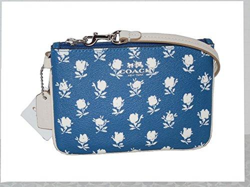 Coach Badlands Blue Floral Ivory Wristlet 53152
