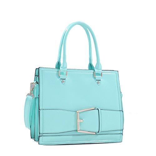 Mint Patent Leather Large Buckle Design Satchel Handbag Purse