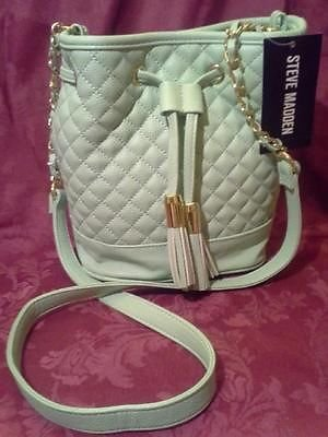 Steve Madden BBenson Drawstring Faux Leather Quilted Mint Bag