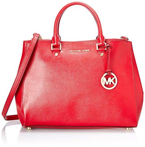 MICHAEL Michael Kors Sutton Large Dressy Satchel in Glazed Scarlet Red Leather