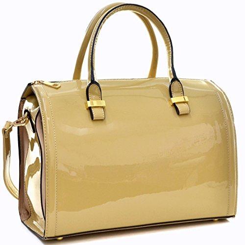 Dasein Shiny Patent Faux Leather Barrel Body Satchel Handbag Shoulder Bag