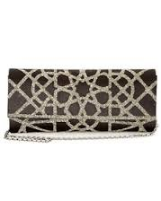 NEW Judith Leiber Casbah Satin Envelope Clutch – Black with Gold Handcrafted Embellishment.Retail $1895