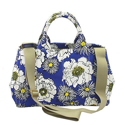 Prada Women's Canapa Blue Flower Print Canvas Tote Bag W/strap Bn1877