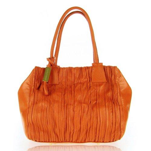 PAOLO MASI Italian Made Burnt Orange Wrinkled Panel Lamb Leather Designer Handbag