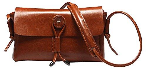 Heshe® Women's New Fashion Genuine Leather Crossbody Bag Shoulder Bag Sling Bag Handbag Simple Travel for Ladies