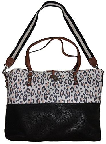 Jessica Simpson Women's Purse Handbag Getaway Tote Whiskey/Leopard/Black