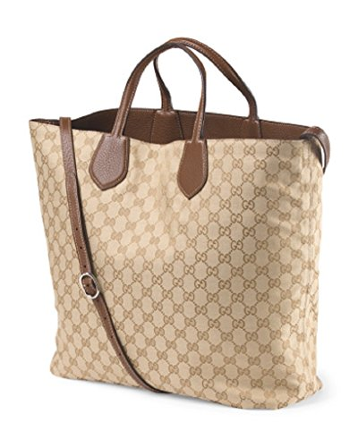 GUCCI Womens Large Ramble Reversible Leather And Original GG Canvas Tote Bag