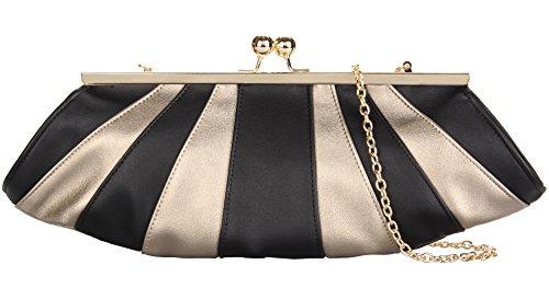 Grace Angel Women's Shell Shaped Handbag Evening Bag Party Clutch GA15493 Black and Gold