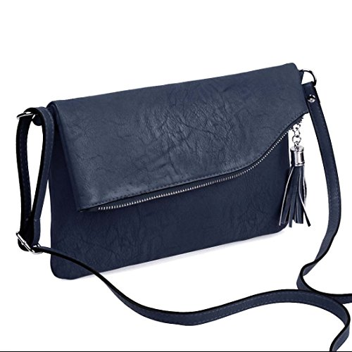 BMC Chic Faux Leather Zippered Foldover Shoulder Bag with Tassel Accessory