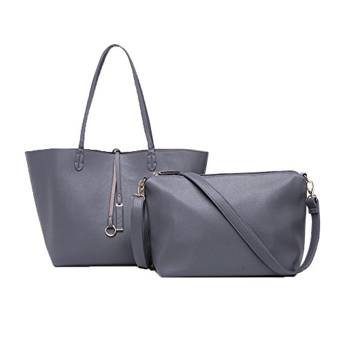 Fineplus Womens Genuine Leather Simple Large Tote Bags Handbag