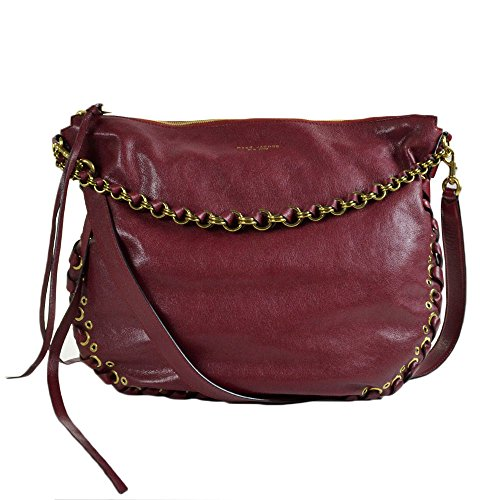 Marc Jacobs Laces Nomad Leather Hobo Bordeaux with Antique Gold