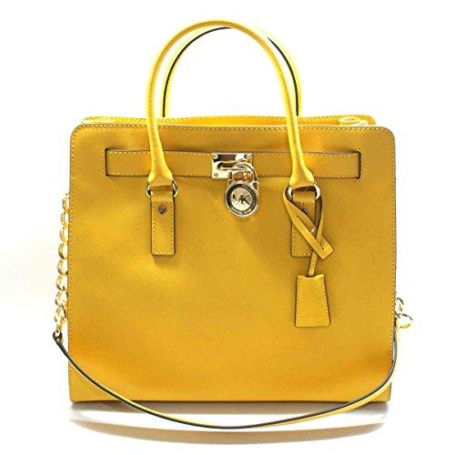Michael Kors Hamilton Large Genuine Leather Tote/ Shoulder Bag Sun (Yellow) #30S2GHMT3L