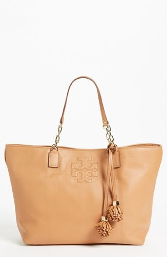 Tory Burch Thea Leather Fringe Large Tote In Nutmeg