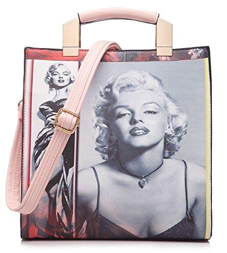 Big Handbag Marilyn Monroe Designer Print Top Handle Stylish Square Satchel Bag
