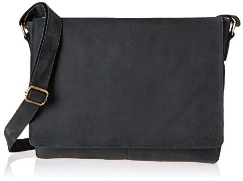 LEABAGS OXFORD Vintage Style Genuine Buffalo Leather Unisex Satchel Flapover Shoulder Bag – Black