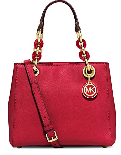 Michael Kors Cynthia SMALL Leather Satchel in CHILI/RED