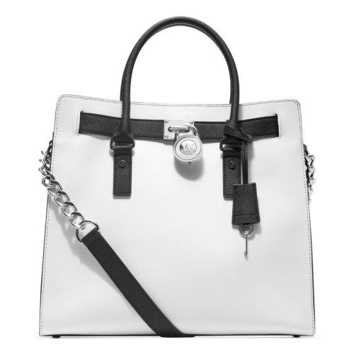 Michael Kors Hamilton Large Leather Tote White Black