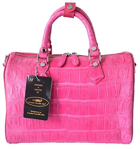 Authentic M Crocodile Skin Womens Belly Leather W/Strap Clutch Bag Purse Handbag