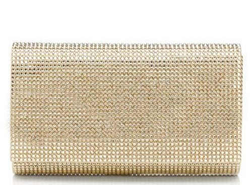 NEW Judith Leiber Champagne Gold Classic Crystal Fizzy Bead Clutch Retail $1995