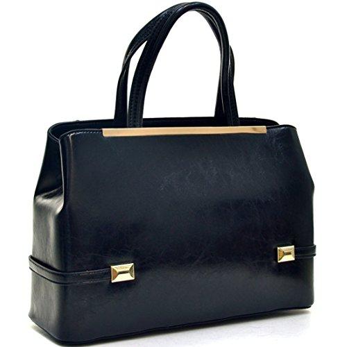 Dasein Gold Tone Faux Leather Frame Satchel Tote Shoulder Handbag Purse Tablet, iPad Bag