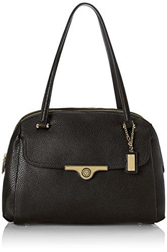 Anne Klein Lady Lock Satchel Top HB Handle Bag, Black, One Size
