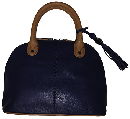 Tignanello Women's Genuine Leather Mini Dome Handbag, Ink/Honey