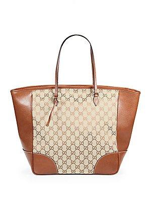 Gucci Brown Bree Original Gg Canvas Leather Tote Handbag New