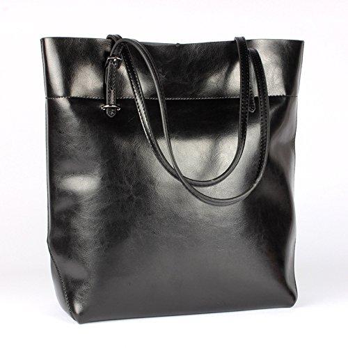 Heshe® Women's New Fashion Genuine Leather Shoulder Waterproof Tote Bag Handbag Simple Travel for Ladies