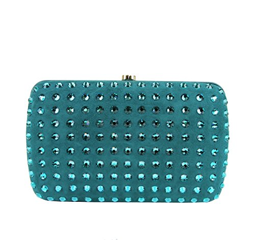 Gucci Ladies Turquoise Broadway Suede Clutch Bag 310005 4460