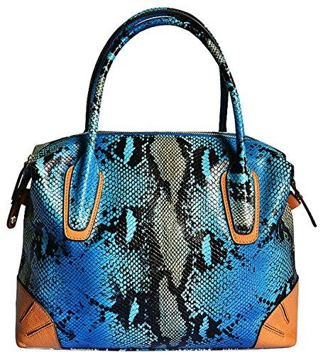 Heshe® Women's New Fashion Genuine Leather Snake Tote Handbag Top Handle Shoulder Bag Handbag Pouch Cross Body Bag Purse Hobo Sling Hang Bag for Ladies