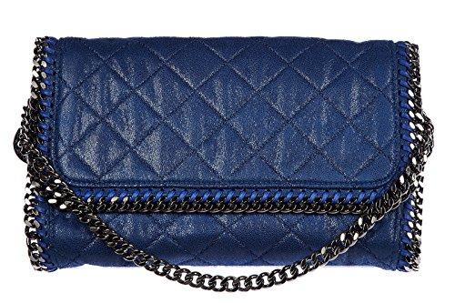 Stella Mccartney women's shoulder bag original falabella shaggy deer blu